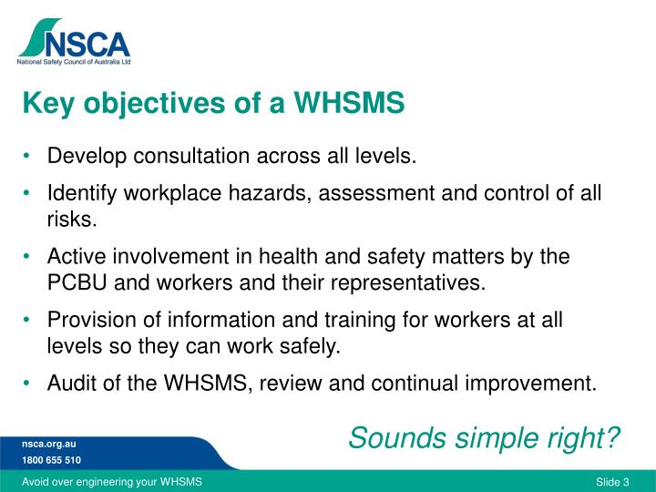 Key objectives of a whsms