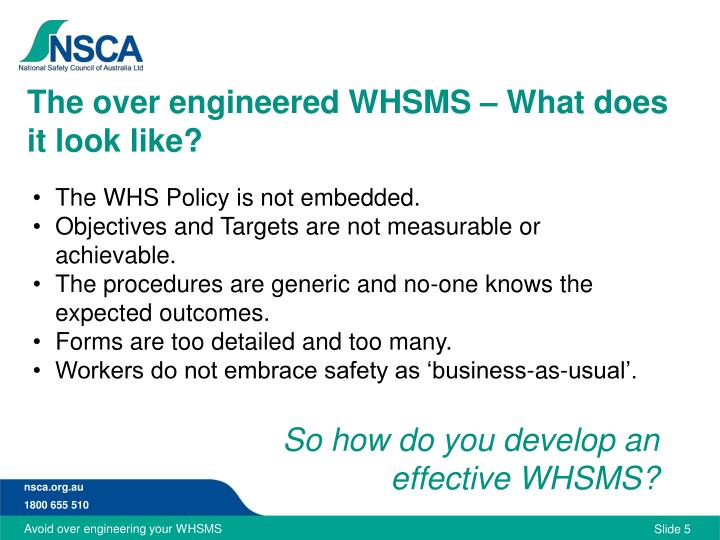 The over engineered WHSMS – What does it look like?
