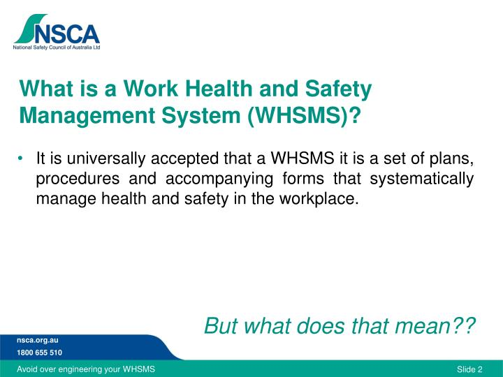 What is a work health and safety management system whsms