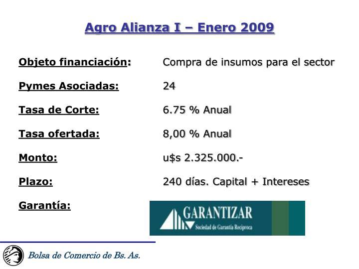 Agro Alianza I – Enero 2009