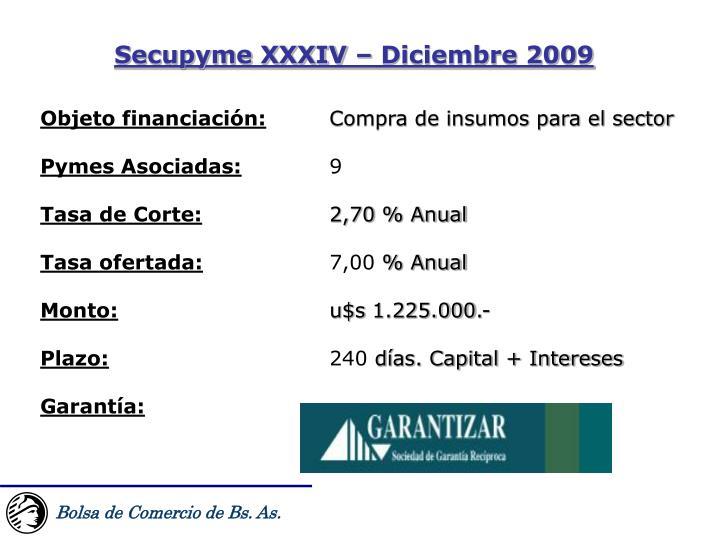Secupyme XXXIV – Diciembre 2009