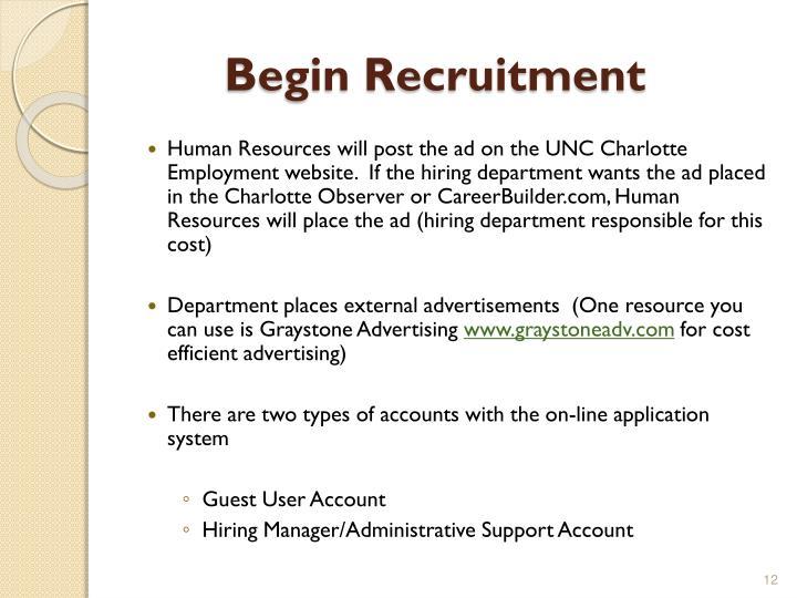 Begin Recruitment