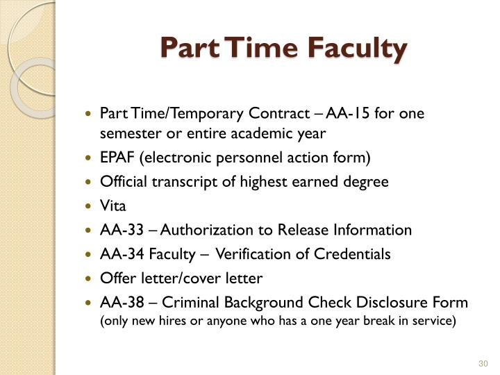 Part Time Faculty