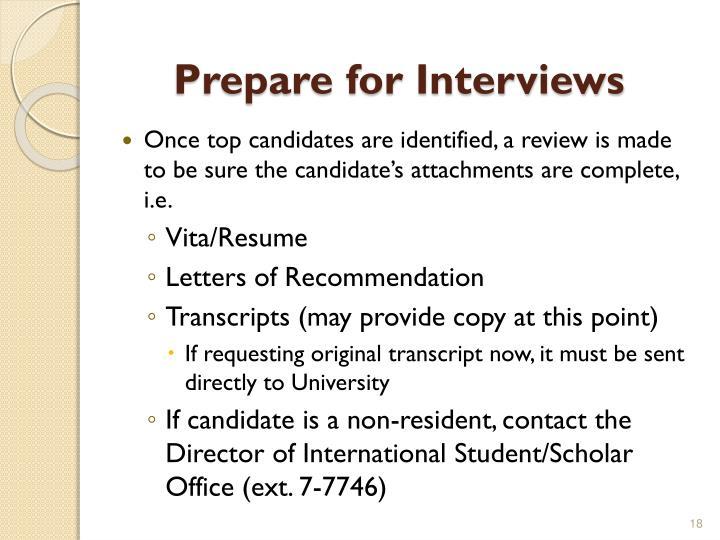 Prepare for Interviews