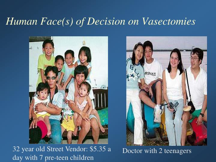 Human Face(s) of Decision on Vasectomies