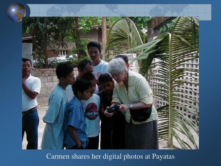 Carmen shares her digital photos at Payatas