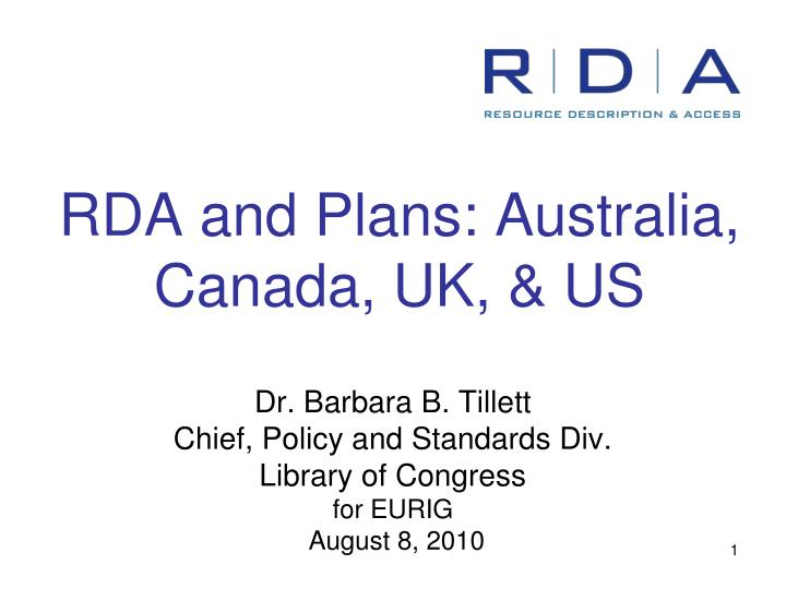 Rda and plans australia canada uk us