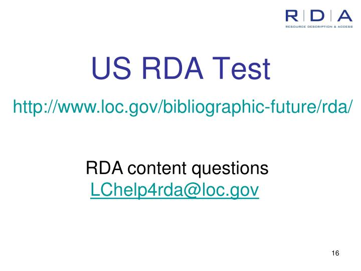 US RDA Test
