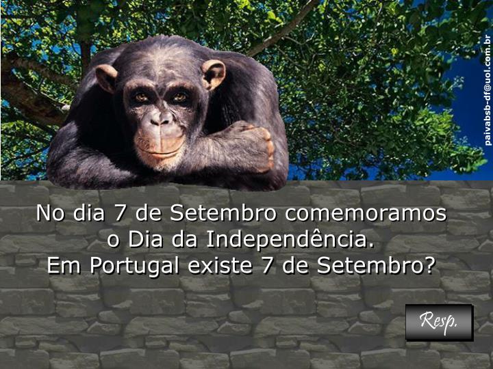 No dia 7 de Setembro comemoramos o Dia da Independência.                                               Em Portugal existe 7 de Setembro?