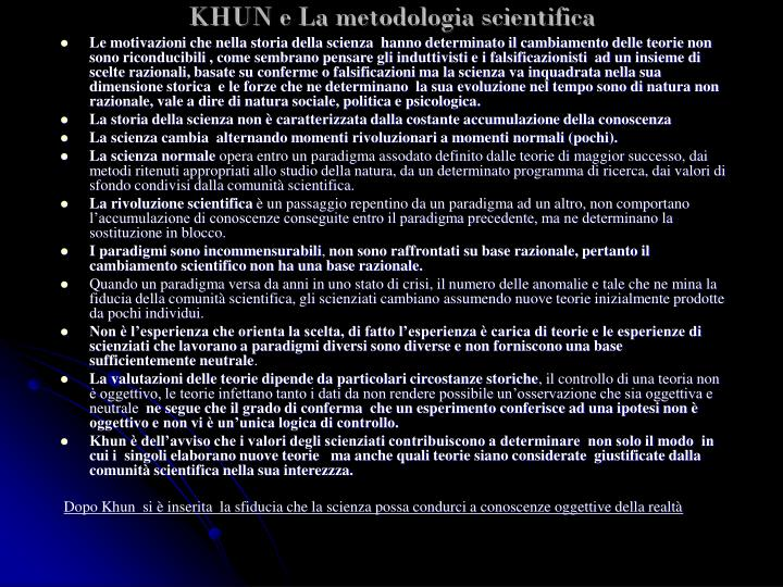 KHUN e La metodologia scientifica