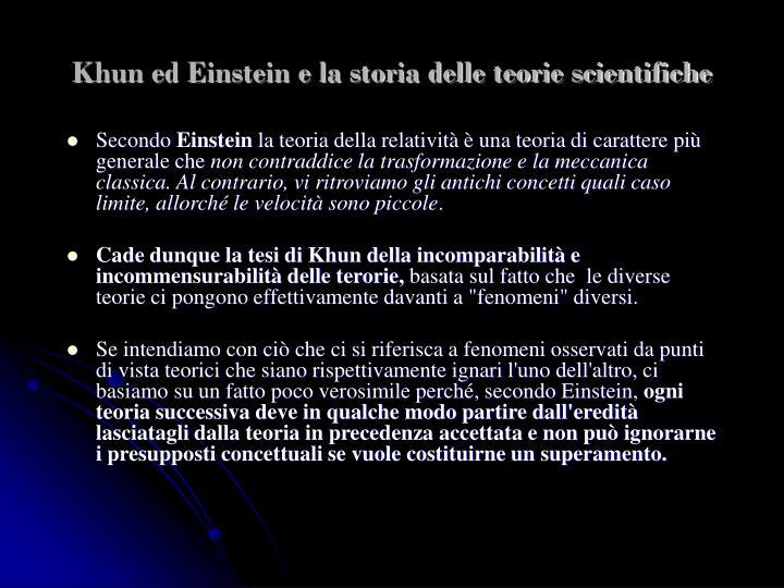 Khun ed Einstein e la storia delle teorie scientifiche