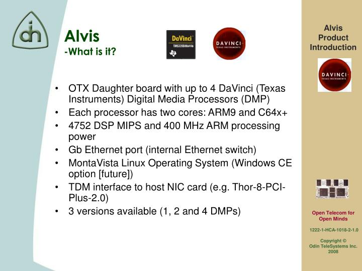 OTX Daughter board with up to 4 DaVinci (Texas Instruments) Digital Media Processors (DMP)