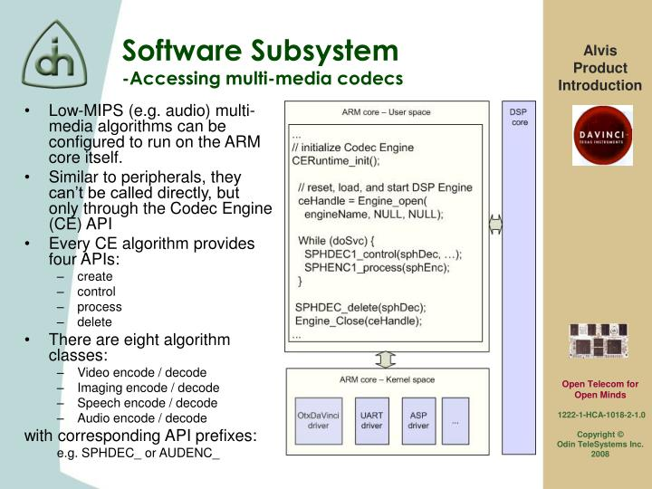 Low-MIPS (e.g. audio) multi-media algorithms can be configured to run on the ARM core itself.