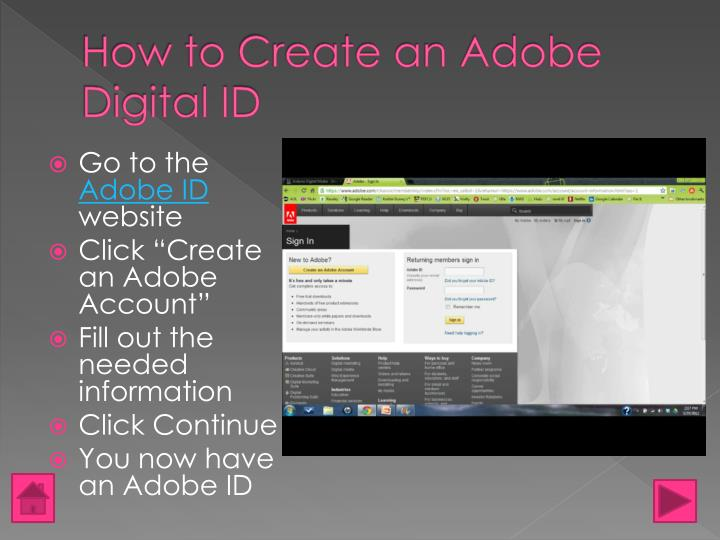 How to Create an Adobe Digital ID