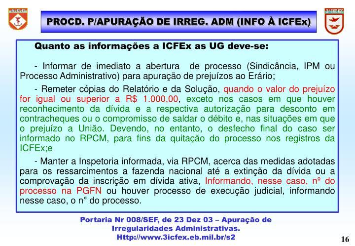 PROCD. P/APURAÇÃO DE IRREG. ADM (INFO À ICFEx)