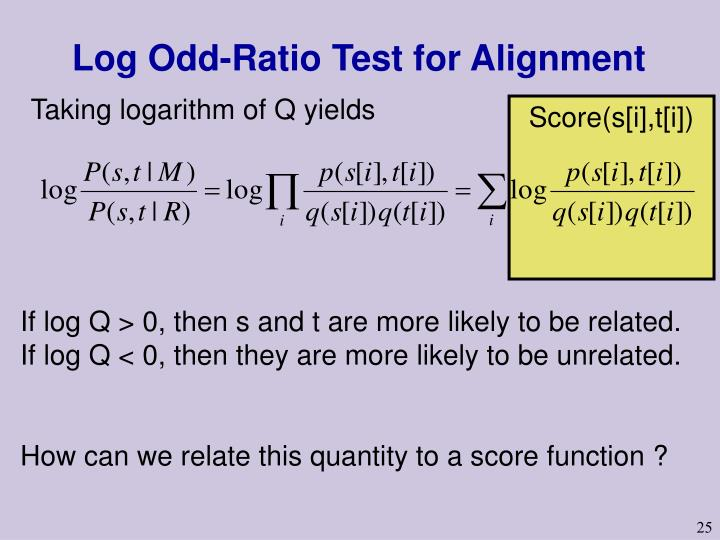 Log Odd-Ratio Test for Alignment