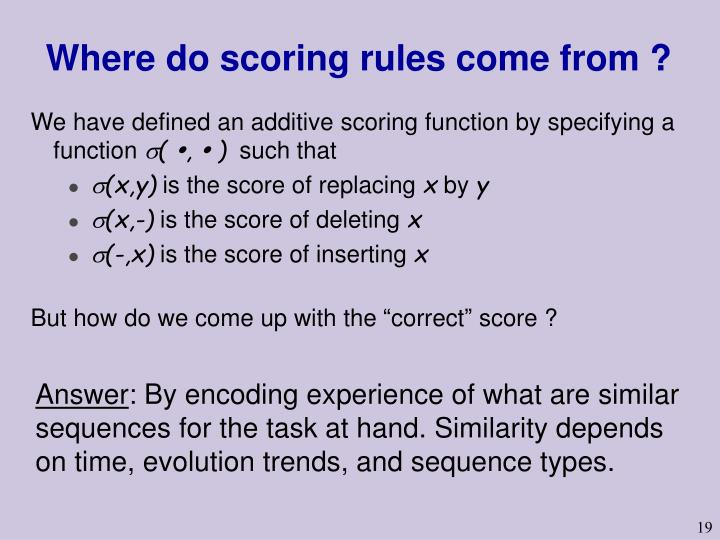 Where do scoring rules come from ?