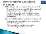 other measures considered in kansas