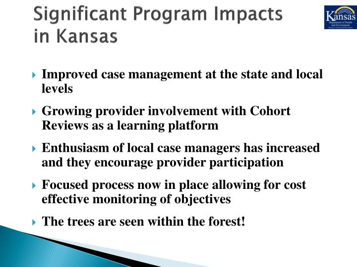 Significant Program Impacts in Kansas