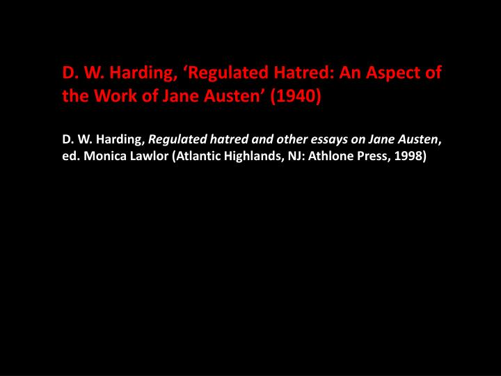 D. W. Harding, 'Regulated Hatred: An Aspect of the Work of Jane Austen' (1940)