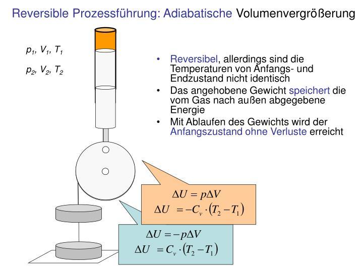 Reversible Prozessführung: Adiabatische