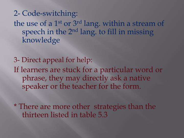 2- Code-switching: