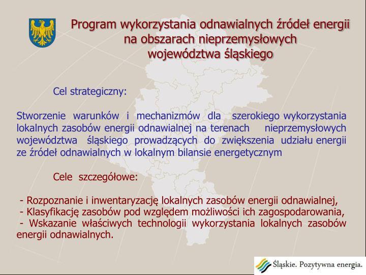 Program wykorzystania odnawialnych źródeł energii na obszarach nieprzemysłowych