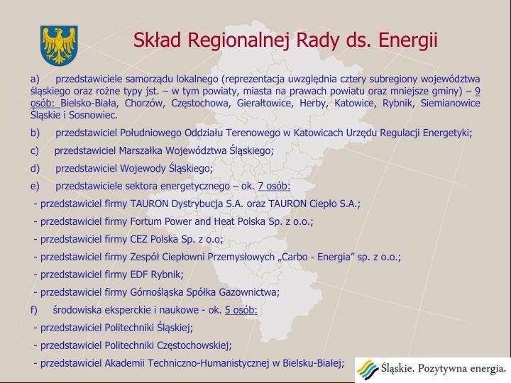 Skład Regionalnej Rady ds. Energii
