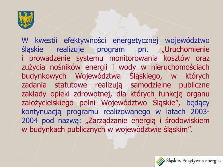 W kwestii efektywności energetycznej województwo śląskie realizuje program pn.