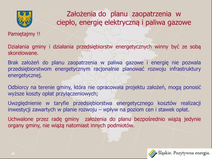 Założenia do  planu  zaopatrzenia  w ciepło, energię elektryczną i paliwa gazowe