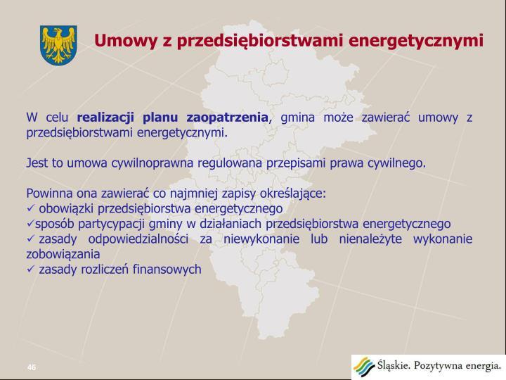 Umowy z przedsiębiorstwami energetycznymi