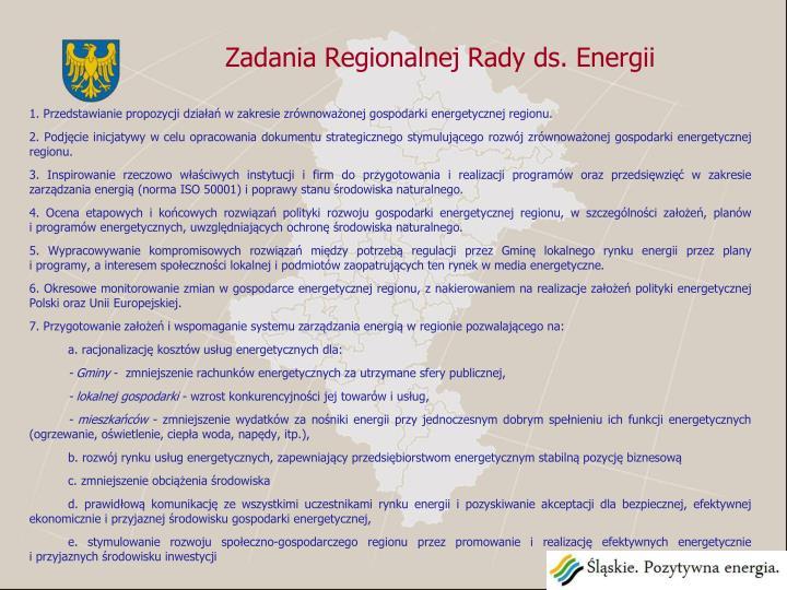 Zadania Regionalnej Rady ds. Energii