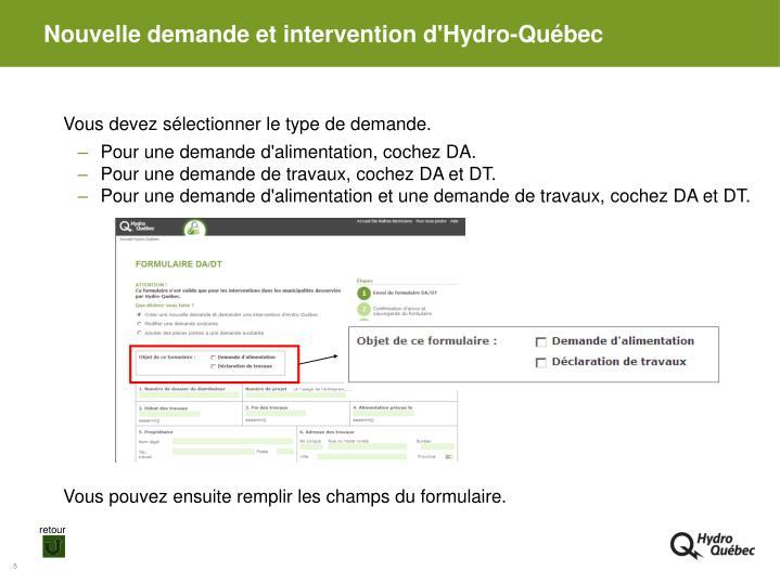 Nouvelle demande et intervention d'Hydro-Québec
