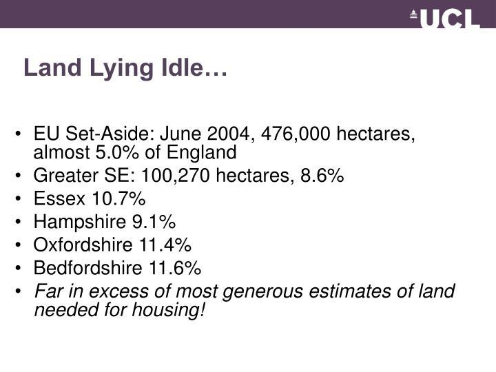 Land Lying Idle…