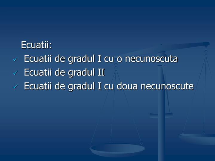 Ecuatii: