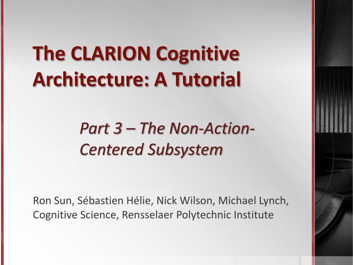 The clarion cognitive architecture a tutorial