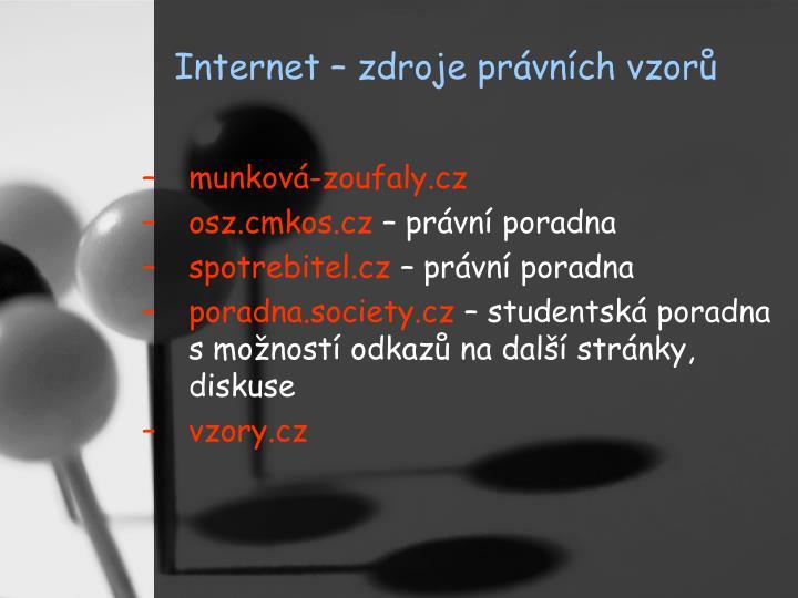 Internet – zdroje právních vzorů