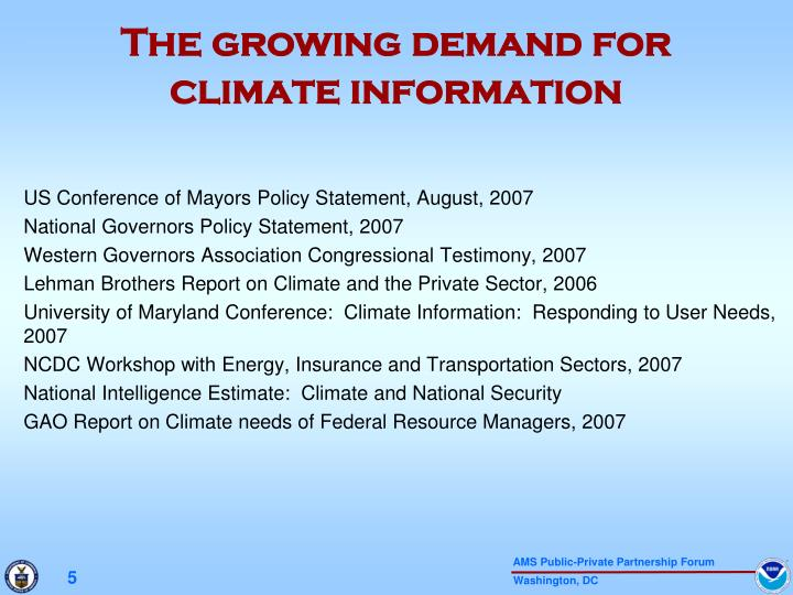 The growing demand for climate information