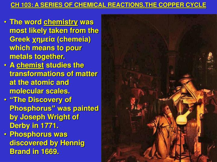 CH 103: A SERIES OF CHEMICAL REACTIONS,THE COPPER CYCLE