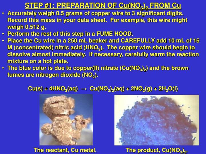 STEP #1: PREPARATION OF Cu(NO