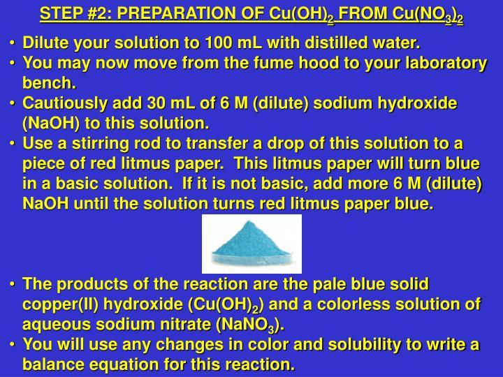 STEP #2: PREPARATION OF Cu(OH)