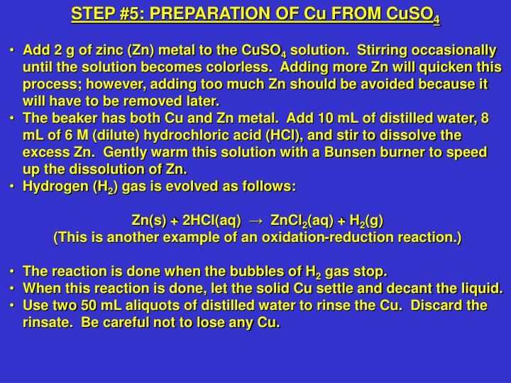 STEP #5: PREPARATION OF Cu FROM CuSO