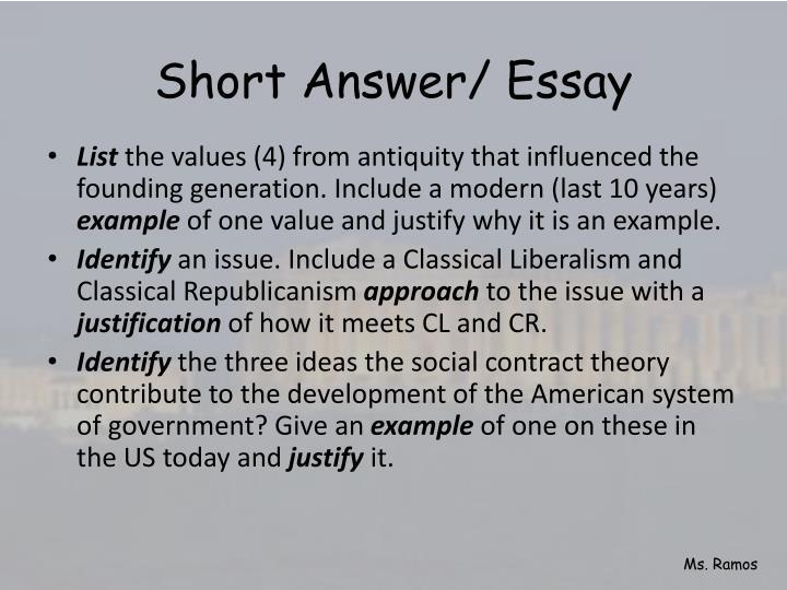 Short Answer/ Essay
