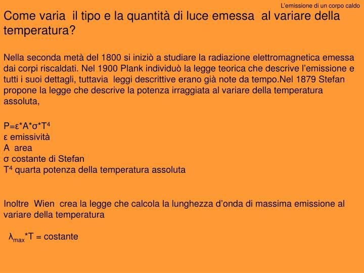L'emissione di un corpo caldo