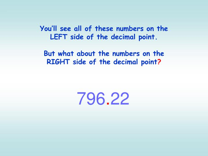 You'll see all of these numbers on the