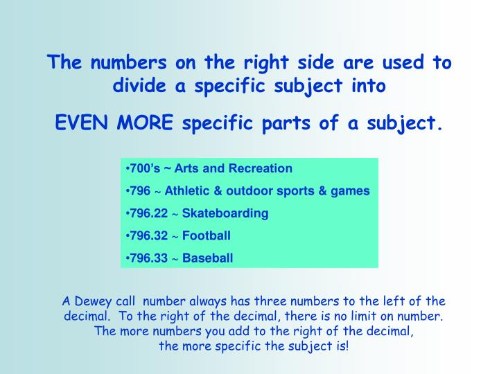 The numbers on the right side are used to divide a specific subject into