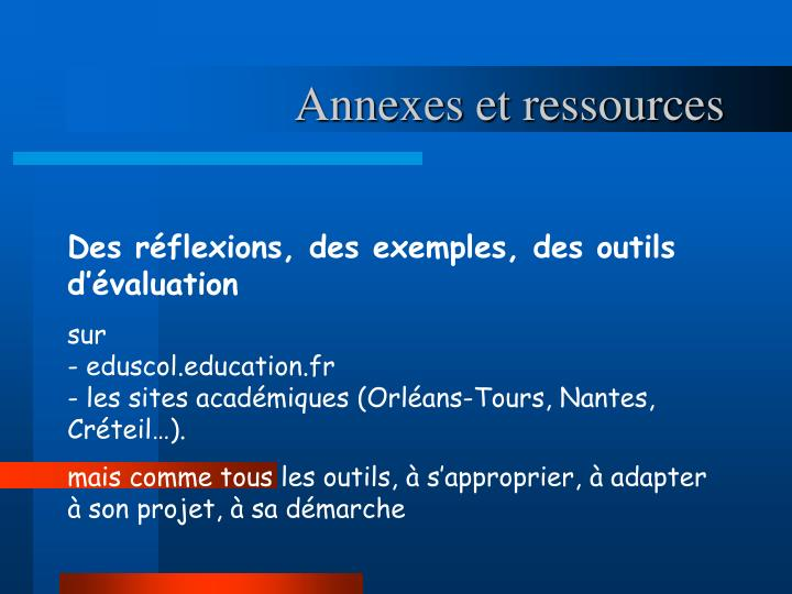 Annexes et ressources