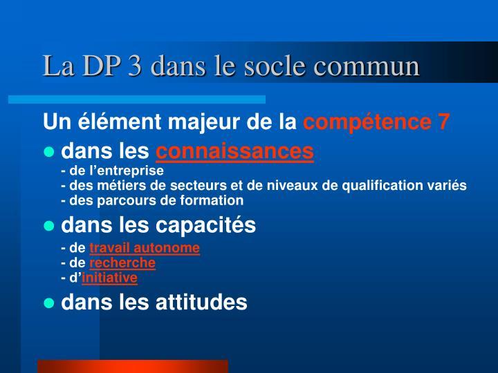 La DP 3 dans le socle commun