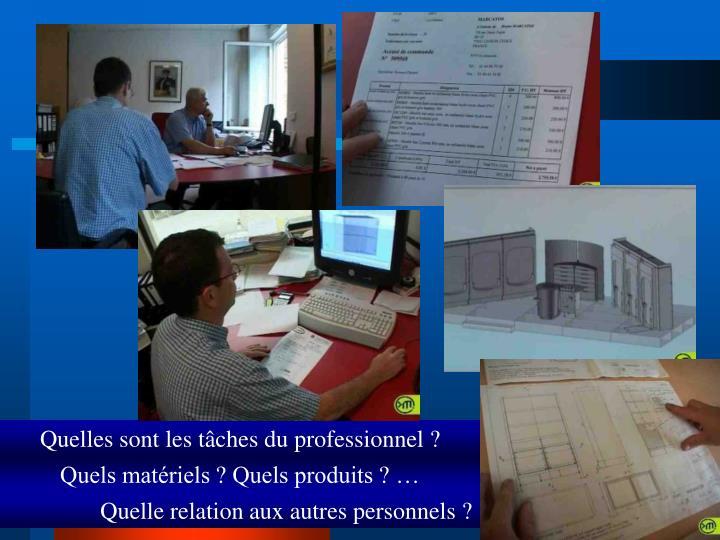 Quelles sont les tâches du professionnel ?