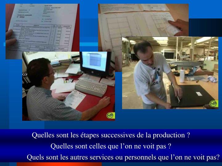 Quelles sont les étapes successives de la production ?